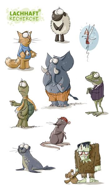 LACHHAFT Illustrationen Cartoons Skizzen Scribbles Entwürfe Katze Schaf Fee Elfe Elefant Schildkröte Kröte Frosch Ratte Robbe Heuler Frankensteins Monster
