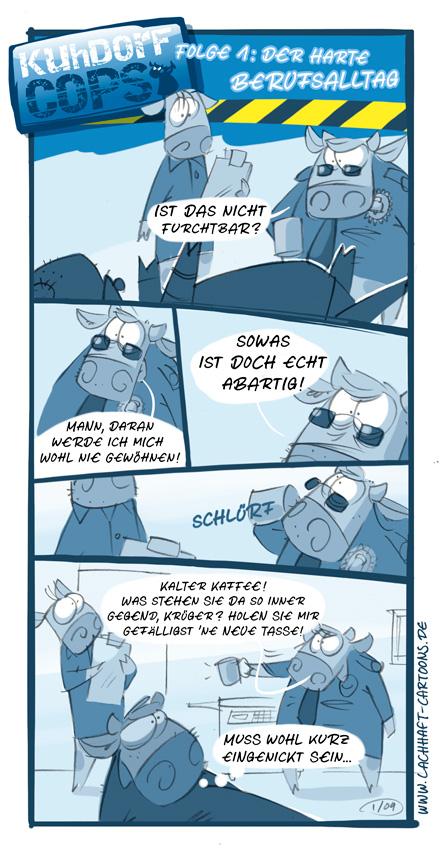 Kuhdorf Cops Polizisten Kühe Bullen Kuh Polizei Serie Leiche kalter Kaffee Cartoon Cartoons Witze witzig witzige lustige Bildwitze Bilderwitze Comic Zeichnungen lustig Karikatur Karikaturen Illustrationen Michael Mantel lachhaft Spaß Humor